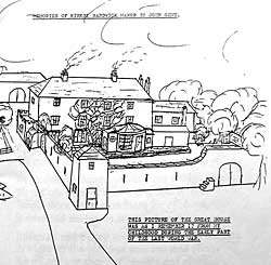 John Gent drawing, early 1940s: his memory of Kirkby Hardwick. Permission from Elaine Scotney.