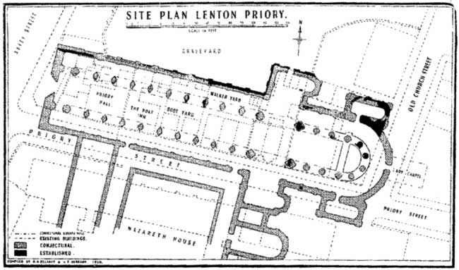 Proposed plan of the Priory Conventual Church from Elliot and Berbank, 1952.