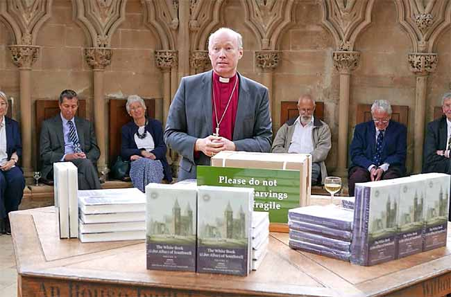 Bishop Paul launches the 'White Book of Southwell' in the Chapter House at Southwell Cathedral in May.