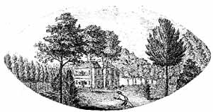Cockglode House as sketched by John Throsby, c1790.